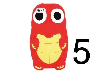 iXium Rouge Élégant en silicone 3D mignon Tortue Lézard Reptile Crocodile Jouet de dinosaure animal Coque en gel silicone souple pour iPhone 5