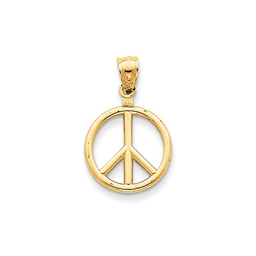 Polished Peace Sign Pendant - 14k Yellow Gold Polished Peace Sign Charm - Measures 24.8x15.8mm
