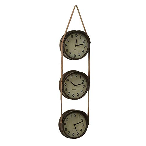 CBK Metal Rusted Time Zone Wall Clock Hanging On Faux Leather Strap 150870