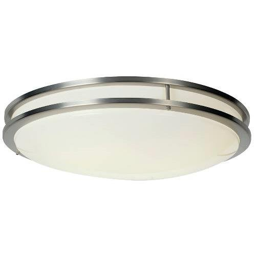 MONUMENT GIDDS-614017 614017 Flush Mount Ceiling Fixture, Stainless Trim, 24'', Uses (1) 32W And (1) 40W Fluorescent Circline Lamp by Unknown