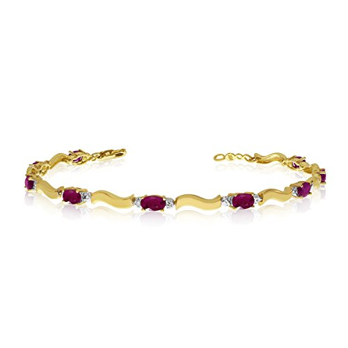 14K Yellow Gold Oval Ruby and Diamond Bracelet (9 Inch Length) 14k Yellow Gold Ruby Bracelet