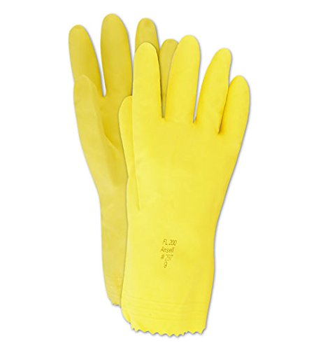 Yellow Flock Lined Gloves (Ansell 632XL Magid ComfortFlex 632 20 mil Flock-Lined Latex Gloves with Pinked Cuff, 11.5