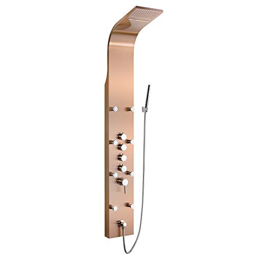 "Golden Vantage 65"" Multi-Function Rainfall Waterfall Style Bronze Finish Wall Mount Bathroom Shower Panel Tower System"