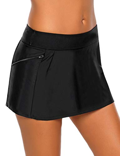 Vetinee Women's Zip Pocket Mid Waist Bikini Tankini Bottom Swim Skirt Swimsuit Black Size Large (Fits US 12-14)