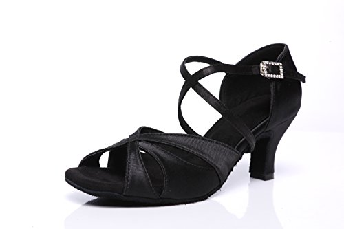 """Akanu Women's Latin Dance Shoes Female's Ballroom Salsa Dance Shoes with 2.3"""" Hell(A-Style Black Size 10)"""