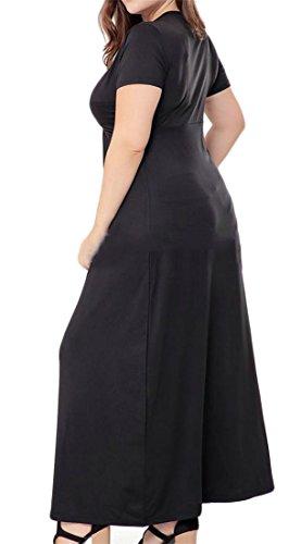 Neck Dress Cromoncent Criss Sleeve Short Size Solid Maxi Womens Plus V Black TwqZIWfq