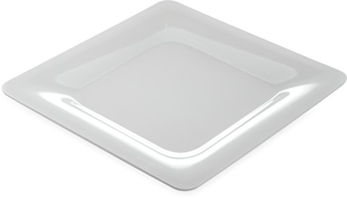 "Carlisle 4440002 Designer Displayware Melamine Wide Rim Square Plate, 12"", White (Pack of 4)"