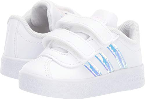 adidas Kids Unisex VL Court 2 CMF (Infant/Toddler) Footwear White/Footwear White/Clear Orange 7 M US Toddler