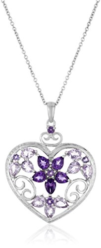Sterling Silver, Amethyst, Rose de France, and Diamond-Accent Heart Pendant Necklace, 18""