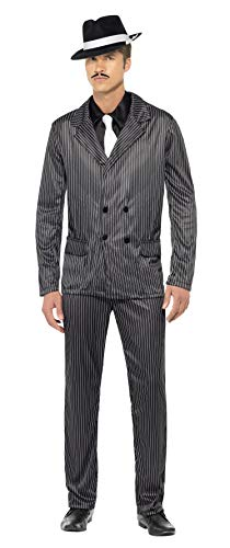 Smiffys Men's Gangster Costume Pinstripe Jacket and Trousers Shirt Front and Tie, Black, Large -