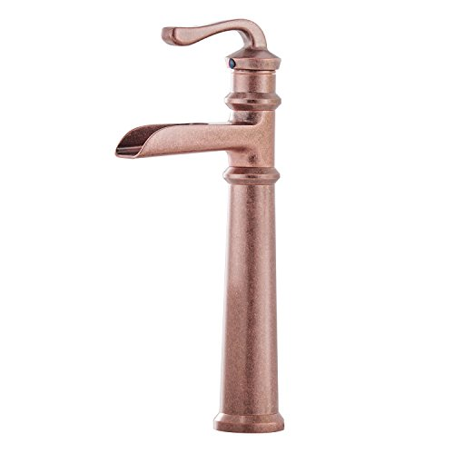 BWE Copper Waterfall Single Handle One Hole Bathroom Sink Faucet Vessel Faucets Deck Mount