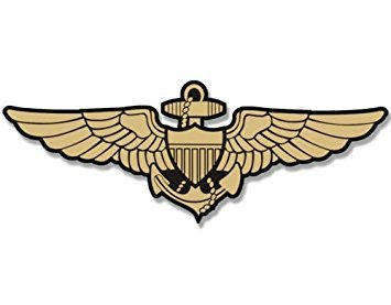 MAGNET Gold NAVY AVIATOR WINGS Shaped Magnet(logo naval pilot fly aviation) Size: 3 x 6 inch ()
