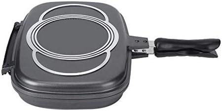 Ichiias Poêle à frire Flip Double face Antiadhésive Barbecue Outil de cuisson Ustensiles de cuisson Poêle Poignée anti-brûlure