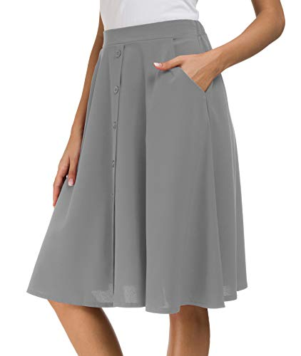 Afibi Women's High Waisted A Line Pleated Midi Skirt Button Front Skirts with Pocket (Medium, Gray)
