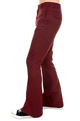 Run & Fly Mens 60s 70s Vintage Burgundy Presley Flared Slacks Trousers 36 Regular