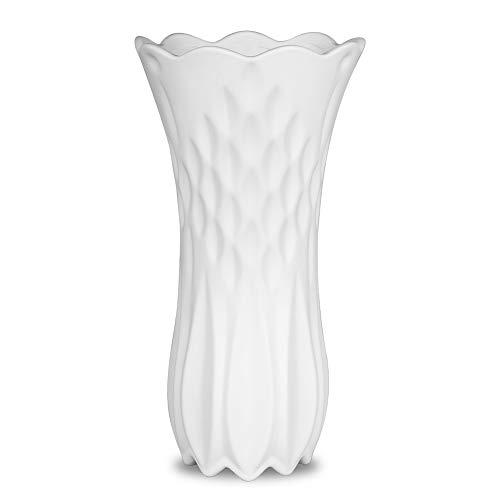 Koolkatkoo 10 Inch Tall Ceramic Flower Vase for Home Decor Living Room Office Modern Elegant Vases Gift for Weddings Party White ()