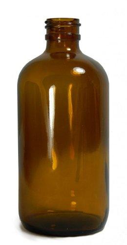 Qorpak GLA-00900 Amber Glass Boston Round Bottle with 33-400 Neck Finish, 94mm Diameter x 210mm Height, 32oz Capacity (Case of 30)