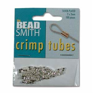 Plated Crimp Ends (Real Silver Plated Crimp Beads 2x2mm (100 Crimps))