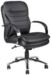 Boss Office Products Caressoftplus Mid Back Executive Chair with Chrome Base and Knee Tilt,...