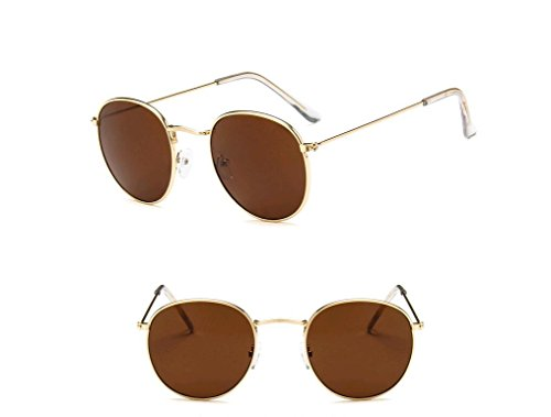 GAMT Vintage Round Aviator Sunglasses Color Film for Women Golden Frame Brown - Golden Aviator Colour