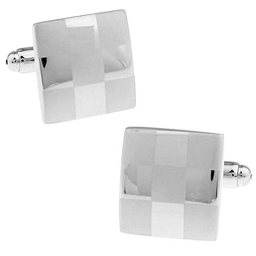 Silver Square Brushed Cufflinks 2Pair Men's Wedding Business Ornaments Plated Metallic Copper Cufflinks