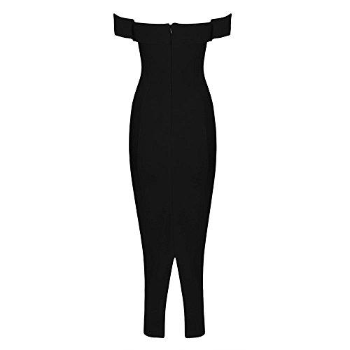 HLBandage Women Slash Neck Off Shoulder Midi Bandage Dress Negro
