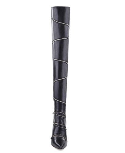 Q High Womens Heels Winter Amy Shoes For Over Pointed Stiletto The Toe Black Casual Black Knee Zipper Boots fq5dzBx