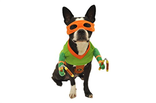 (Silver Paw Teenage Mutant Ninja Turtles Michelangelo Orange Reality Dog Costume,)
