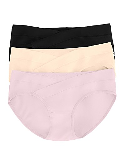 Kindred Bravely Under The Bump Maternity Underwear/Pregnancy Panties - Bikini 3 Pack (Medium, Assorted)