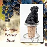 Chinese Shar Pei Black Wine Bottle Stopper - DTB40B