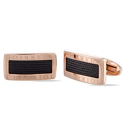 (Charriol Celtic Stainless Steel, Rose Gold and Black Rhodium Plated Cable Rectangle Cufflinks)