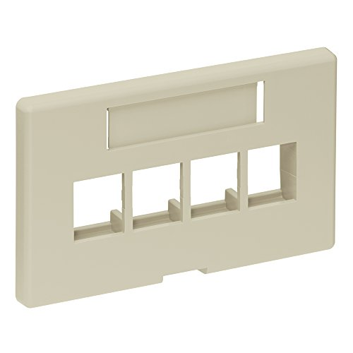 Leviton 49910-HI4 4-Port QuickPort Modular Furniture Faceplate (Herman Miller), Ivory