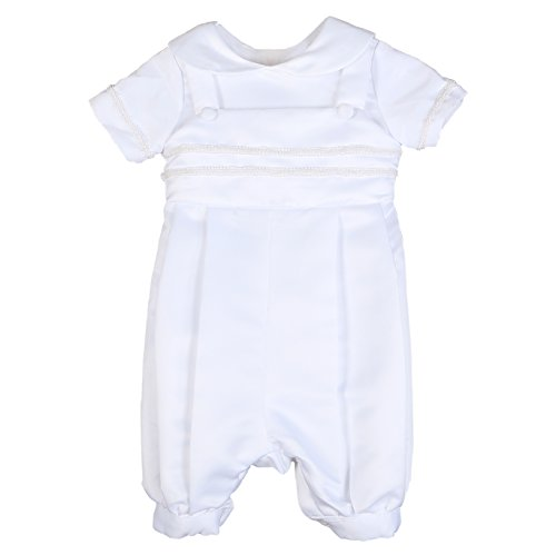 NIMBLE Newborn Infant Baby Boy Baptism Christening Short Sleeve Coverall Romper White