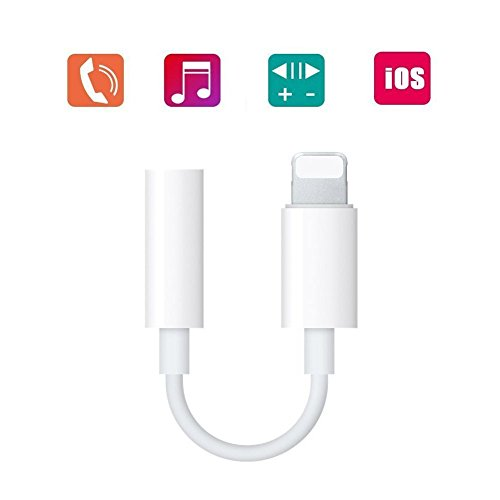 Coreykin Lightning to 3.5mm Headphone Jack Adapter for iPhone 7/ 7 Plus 8 Plus iphone X iPod Touch iPad and More White