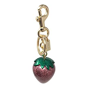 Coach Strawberry Bag Charm Key Chain Pink Gold F68418, Small