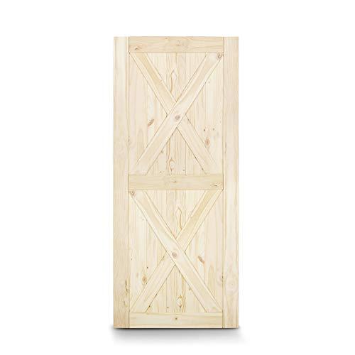 BELLEZE 42 x 84 inches Modern Sliding Barn Door Natural Wood Pine Unfinished Single Door, Double X