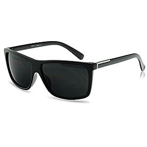 Unisex Classic Square Super Dark Black Limo Tint Lens Keyhole Frame Sunglasses (Black w/ Silver, Black)