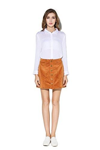 Little Smily Women's Corduroy High Waist Button Front Mini Skirt, Camel, M ()