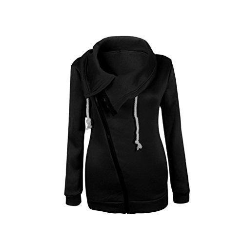 E Obliquo Casual Manica Giacche Top Puro Semplice Vintage Giacca Lunga Zip Cappotto Cappotti Inverno Fashion Nero Con Giubbotto Colore Donna Elegante Autunno Calda pnSwX6