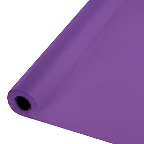 Creative Converting 013268 Touch of Color Plastic Tablecover Banquet Roll, 250' Each Roll, Purple -
