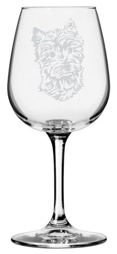 West Terriers Highland - West Highland Terrier Dog Themed Etched All Purpose 12.75oz Libbey Wine Glass