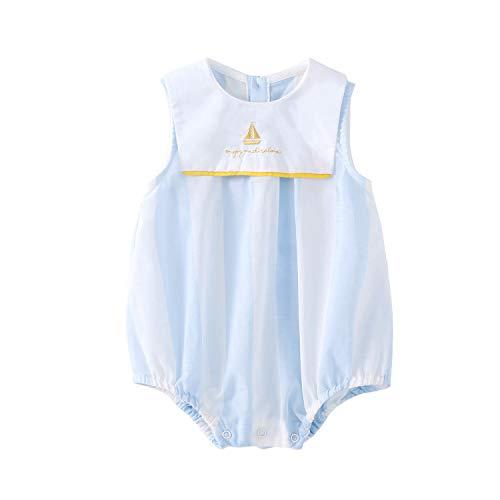 - pureborn Baby Boy Bodysuit Sailor Stripe Sleeveless Cotton Summer Onesie Blue 6-9 Months
