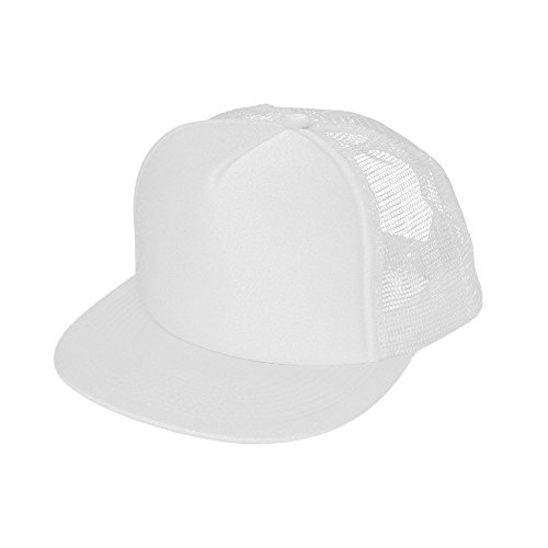 DALIX Flat Billed Trucker Cap With Mesh Back in - Mesh White Snapback