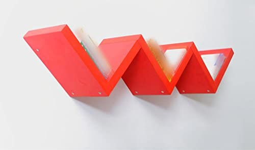 JCRNJSB® ラック、W型クリエイティブな棚区画装飾フレーム壁掛け壁の上に簡単なステントパーティション リムーバブルに保存できます シェルフシェルフ 本棚 (色 : 赤)