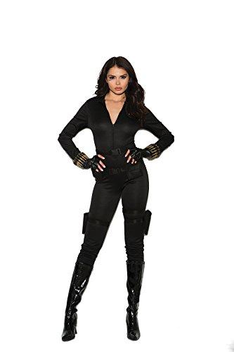 Secret Agent Halloween Costume Women (Secret Agent Costume Jumpsuit, Belt, Holsters, Bullet Bracelet, Fingerless Glove)