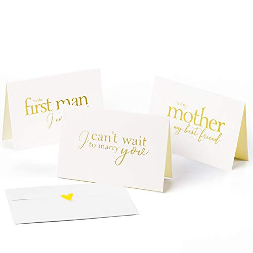 WRAPAHOLIC Gold Hot Stamping to Your Bride, Groom and Parent Card - I Can't Wait to Marry You, to My Mother My Bestfriend, to The First Man I Ever Loved - 6 Pack (Letter To Bride On Wedding Day From Mother)