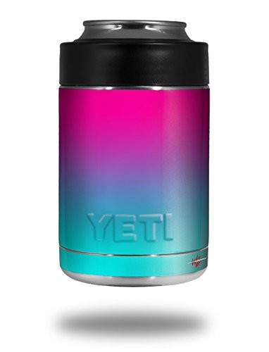 Smooth Fades Neon Teal Hot Pink - Decal Style Skin Wrap fits Yeti Rambler Colster and RTIC Can (Cooler NOT Included)