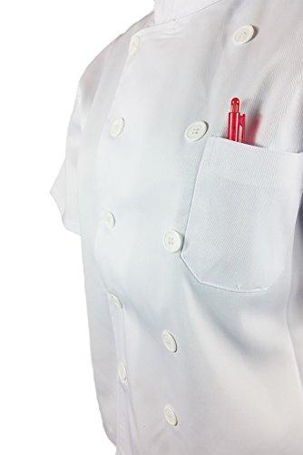 de cocina color express Chaqueta con Cocina hombre y y bolsillos media manga de mujer corta A de blanco xB1w1