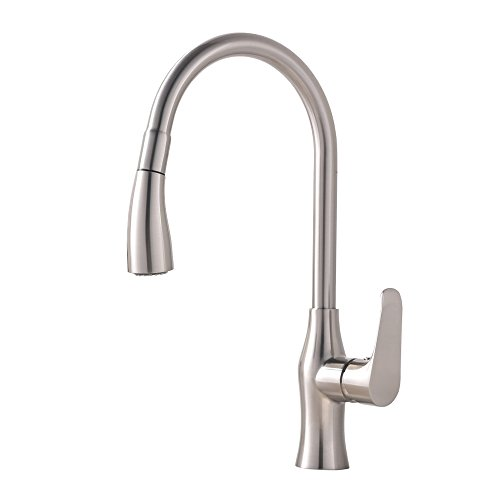Hotis Best 1 Hole Touch Single Handle Stainless Steel Prep Sprayer Pull Out Pull Down Sprayer Kitchen Sink Faucet,Brushed Nickel (One Handle One Hole)