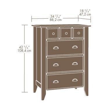 Sauder 410288 Shoal Creek 4-Drawer Chest, L: 34.72'' x W: 18.58'' x H: 42.68'', Oiled Oak finish